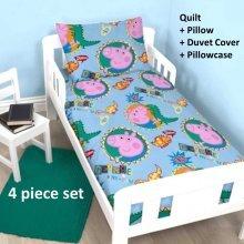 Peppa Pig George 'Roar' 4 piece junior cot bed bundle