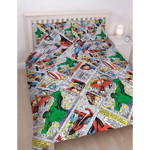 DISNEY MARVEL COMICS Marvel Comics 'Retro' Double Duvet Set - Repeat Print Design, Multi-Colour