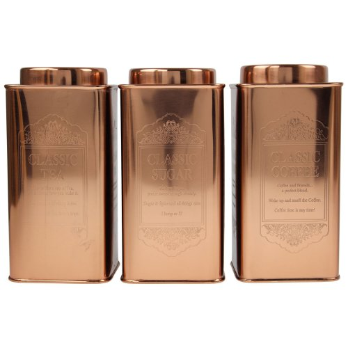 Set Of 3 Large Tea Coffee Sugar Canisters Kitchen Storage Tin Jars Pots Copper