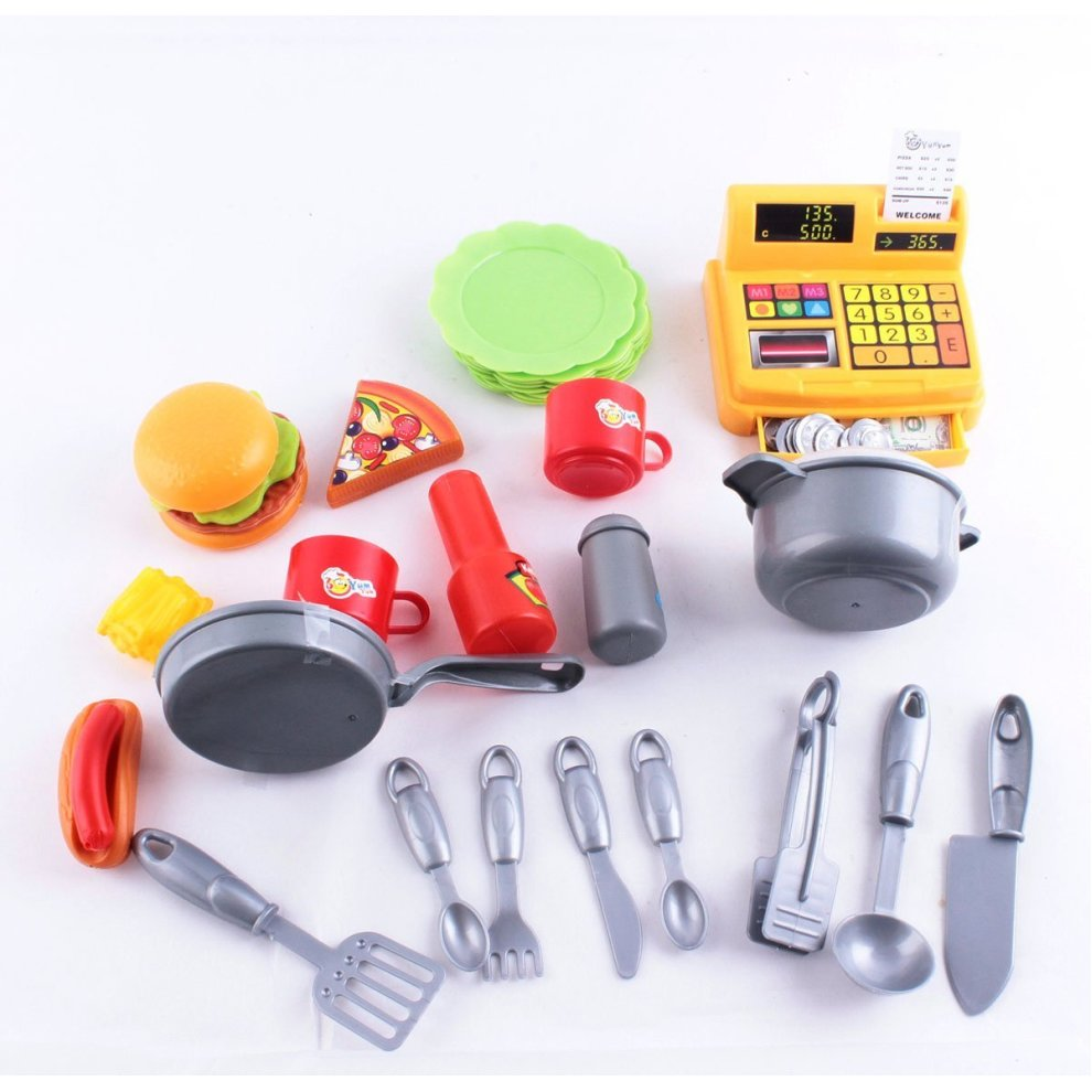 Deao toys kids 39 2 in 1 kitchen fast food stall role play for Kitchen set toy kingdom