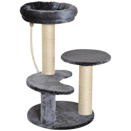 PawHut Cat Tree Scratcher Kitty Activity Center Scratching Post Playhouse 2 Perch w/ Hanging Sisal Rope Grey