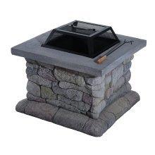 Outsunny Patio Fire Pit Fibreglass Stone Effect Fireplace Square (63lx63wx43h(cm))