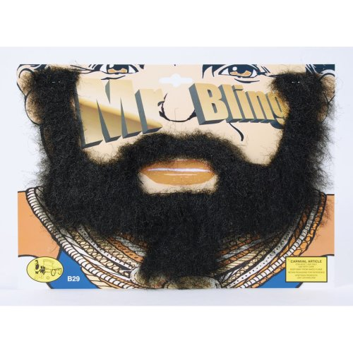 Black Mr Bling Stick On Beard -  mr t beard moustache tash ba baracus team fancy dress