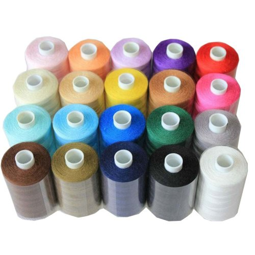 20 Assorted Spools of Polyester Sewing Thread 1000 Yards Each (Spools H: 6.2cm)