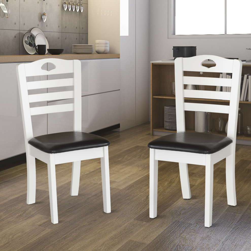 Surprising Homcom Dining Chairs Set Of 2 Pu Leather Padded Seat Modern Style Solid Wood Kitchen Furniture White Frame Black Seat Pabps2019 Chair Design Images Pabps2019Com