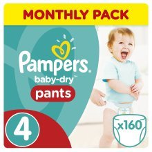 Pampers Baby-Dry Pants , 8-14 kg, 160 Nappy Pants, Monthly Pack- Size 4