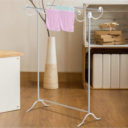 Homcom 2 Bar Metal Clothing Rack Bathroom Hanging Towel Rails Vintage Style