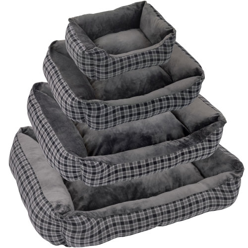 Soft Check Dog/Puppy/Pet Bed Small Medium Extra Large Luxury S/M/L/XL Washable