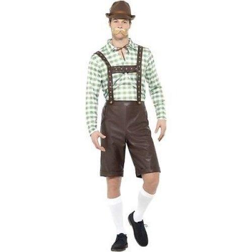 Bavarian Man Costume, Green & Brown, With Shirt & Pvc Lederhosen -  costume bavarian beer man mens german oktoberfest fancy dress
