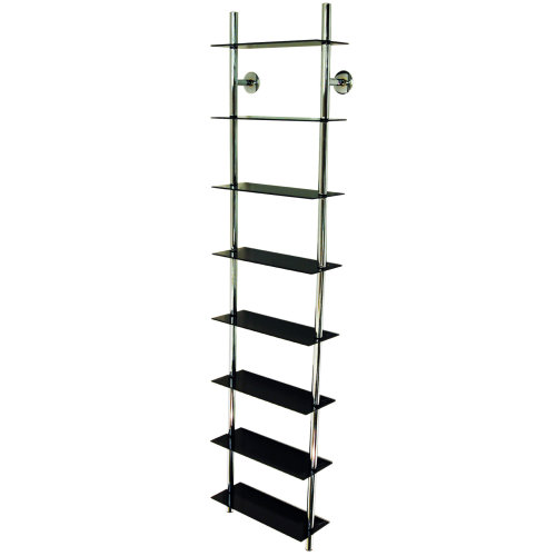 MAXWELL - Wall Mounted Glass Bathroom Storage Shelves - Black