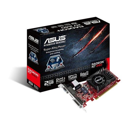 ASUS AMD Radeon R7 240 2 GB DDR3 Graphics Card (PCI Express 3.0, HDMI, DVI-D, 128-Bit, Dust-Proof Fan, GPU Tweak Utility)