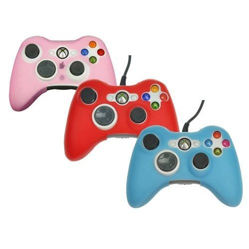 3in1 Combo (Pink Red Blue) Silicone Protector Skin Case Cover for Xbox 360 Game Controller