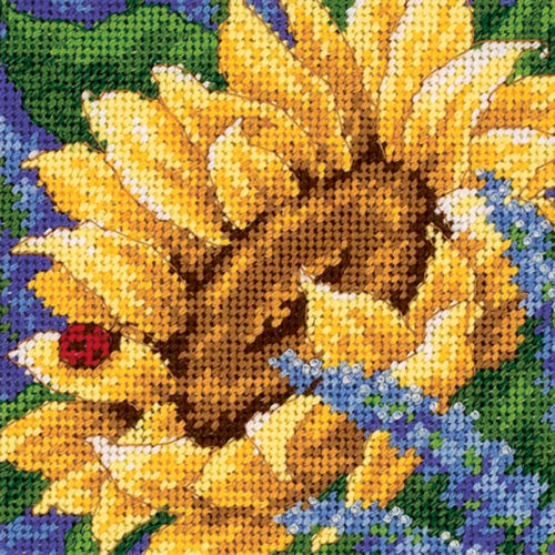 "Dimensions Mini Needlepoint Kit 5""X5""-Sunflower & Ladybug Stitched In Thread"