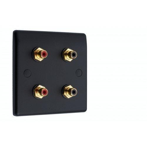 Matt Black Slimline - 4 x RCA Phono Audio Wall Plate 4 Terminals - No Soldering Required