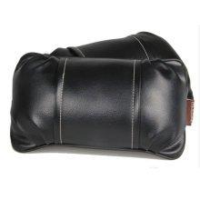 Set of 2 Simple Design Automotive Trim Leather Neck Pillow,Black