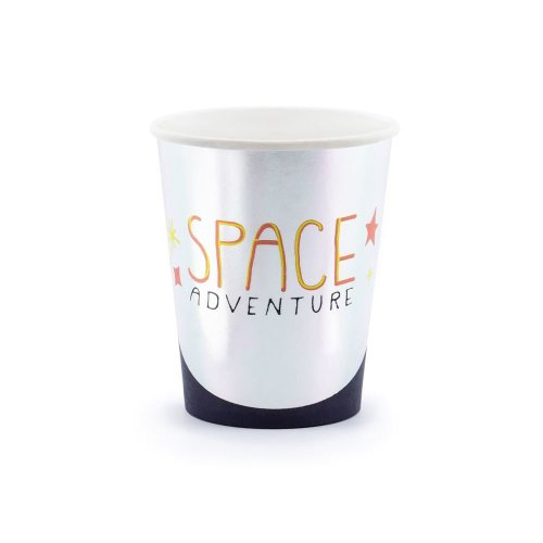 Silver 'Space Adventure' Paper Birthday Party Cups x 6