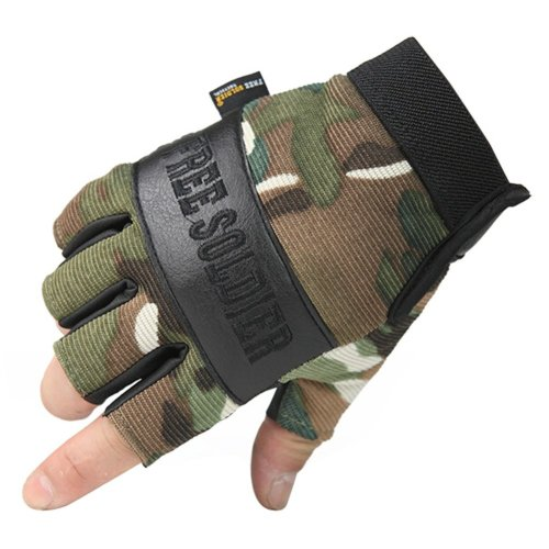 Camouflage Fingerless Mountain Climbing Gloves Climbing Gear Gloves, L