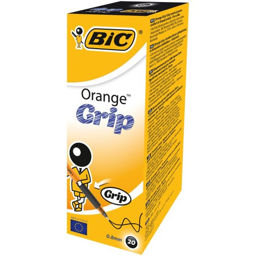 BIC Orange Grip Ballpoint Pens Black 20 Box