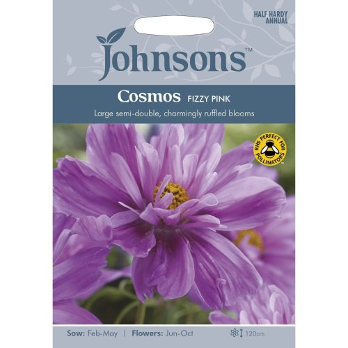 Johnsons Seeds - Pictorial Pack - Flower - Cosmos Fizzy pink - 30 Seeds