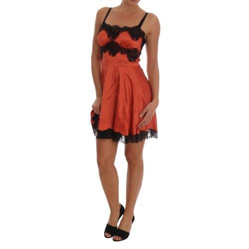 b7122e075ee Dolce   Gabbana Orange Silk Stretch Black Lace Lingerie Dress