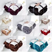 Flannel Sherpa Fur Throw Fleece Blanket Sofa Throw Double King
