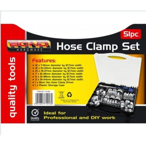 51pc Assorted Hose Clamp Set Clamps Jubilee Clip Type Clips Inc Driver Tool