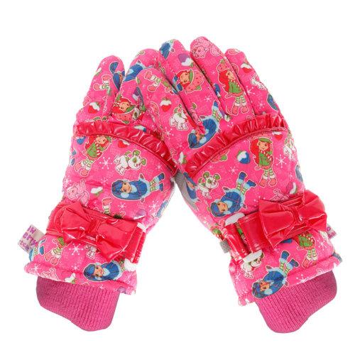 Pretty Girl Snow Skiing Ourdoor Winter Gloves Waterproof 8-10 Years old ROSE