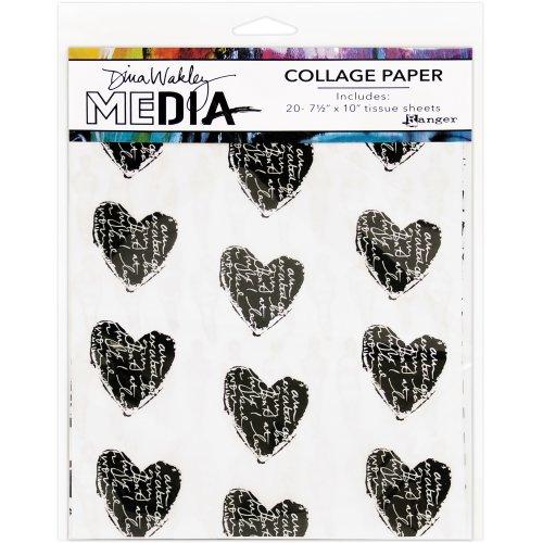 "Dina Wakley Media Collage Tissue Paper  7.5""X10"" 20/Pkg-10 Printed/10 Plain"