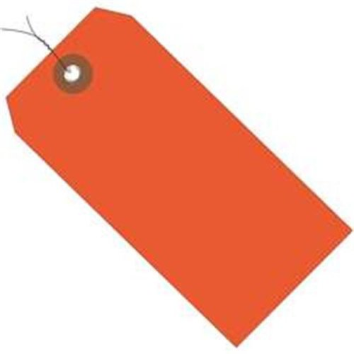 Box Partners G26053W 4.75 x 2.38 in. Orange Plastic Shipping Tags - Pre-Wired - Pack of 100