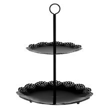 Cake Stand 2 Tier Black Metal For Cooking Decor