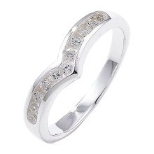 Sterling Silver Channel Set Wishbone Cubic Zirconia Ring - Size P