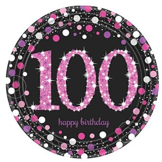 Amscan International 9901770 23cm  celebration 100th Prismatic  Paper Plate - pink celebration 100th paper plates birthday prismatic 8 black amscan  sc 1 st  OnBuy & Amscan International 9901770 23cm