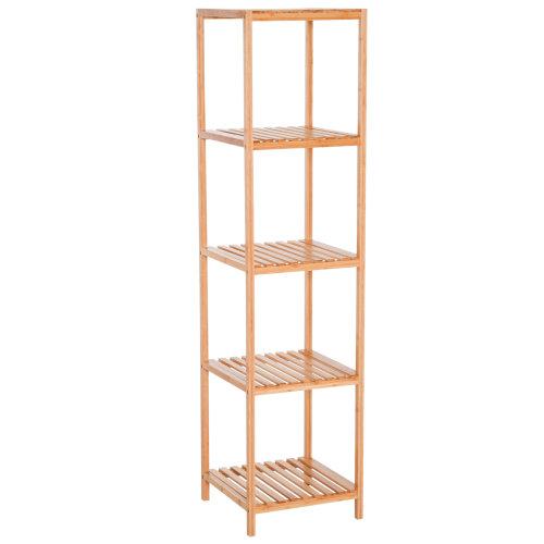 HOMCOM Bamboo 5-Tier Tower Shelf Freestanding Rack Multifunctional Holder Stand Multi-Use Home Organiser
