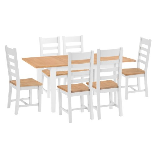 Chester White Painted Oak 1.2m Butterfly Extending Table & 6 Wooden Seat Chairs