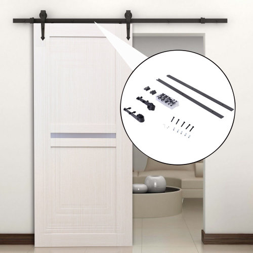 HOMCOM 6FT / 1.8m Carbon Steel Sliding Door Kits Barn Hardware Closet Set Antique Style Track System For Single Wooden Door