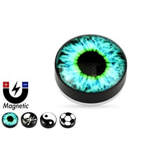 Logo Black Acrylic Epoxy Coated Magnetic Fake Plug / Flesh Tunnel, No Piercing Required
