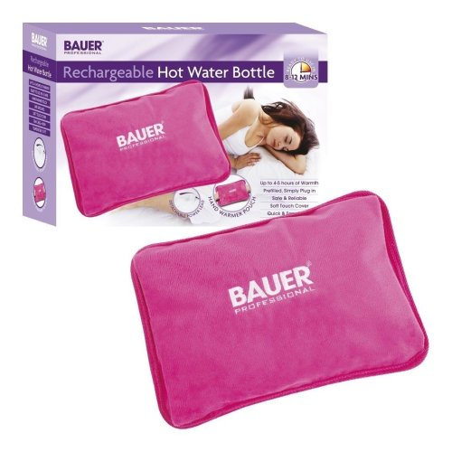 Bauer Rechargable Electric Hot Water Bottle with Soft Touch Cover, Pink