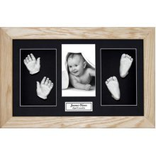 BabyRice Large Baby Casting Kit (great for Twins!), 14.5x8.5' Solid Oak Frame, Black mount, Silver metallic paint
