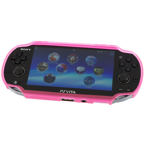 Case for PS Vita 1000 TPU rigid rubber protective skin cover grip pink ZedLabz