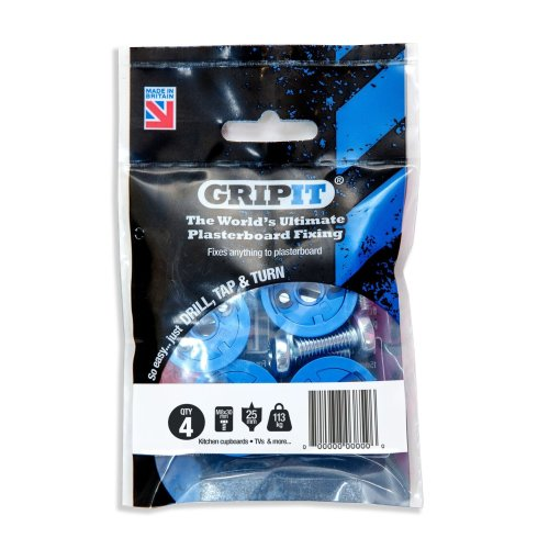 GripIt Blue 25mm Plasterboard Fixings For Stud Walls - Max Load 113Kg (4 Pack)
