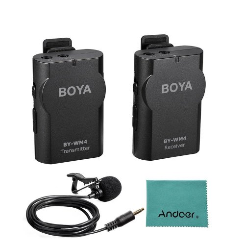 BOYA BY-WM4 2.4GHz Wireless Lavalier Lapel Mic Microphone System Support Real-time Monitor with Hard Case for Canon Nikon Sony DSLR Camera...