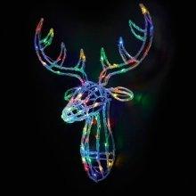 Premier 70cm Acrylic Lit Reindeer Head - Multi Coloured (LV161128M) Christmas Lights