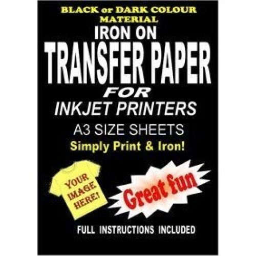 photograph regarding Printable Iron on Fabric identify Inkjet Printable Iron Upon T Blouse Cloth Go Paper For Darkish Materials 10 A3 Sheets