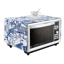 Rural Style Microwave Oven Dust Cover Dustproof Cloths with Pockets Blue