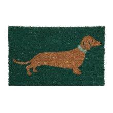 Coir Dachshund Doormat | Green Sausage Dog Welcome Mat