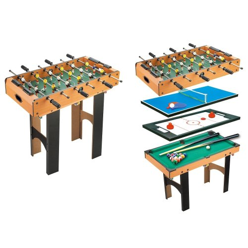 Homcom Foosball, Table Tennis, Air Hockey & Billiards Table | 4-in-1 Games Table