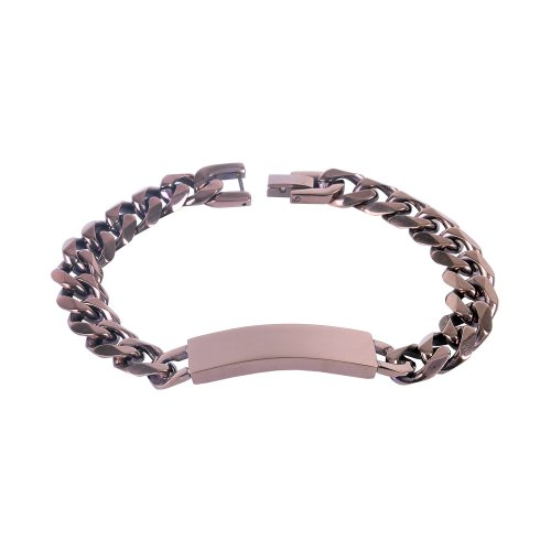Urban Male Solid Bronze Stainless Steel Curb Link ID Plate Chain Bracelet