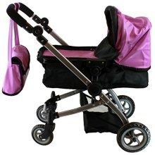 Babyboo Luxury Leather Look Doll Pram with Swiveling Wheels & Adjustable Handle and Free Carriage Bag - 9651B Purple