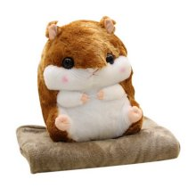 2 In 1 Plush Hamster Stuffed Animal Doll Pillow Cushion Blanket Sets, Dark Brown
