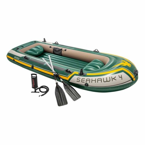 Intex Seahawk 4 Boat Set - Four Man Inflatable Dinghy with Oars and Pump